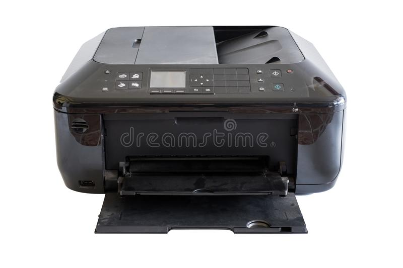 Black document printer toner and colors, on background. Black document printer toner and colors, on white background royalty free stock photos