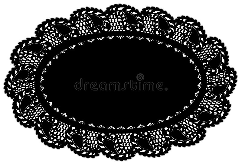black doily edging lace leaf mat place иллюстрация вектора