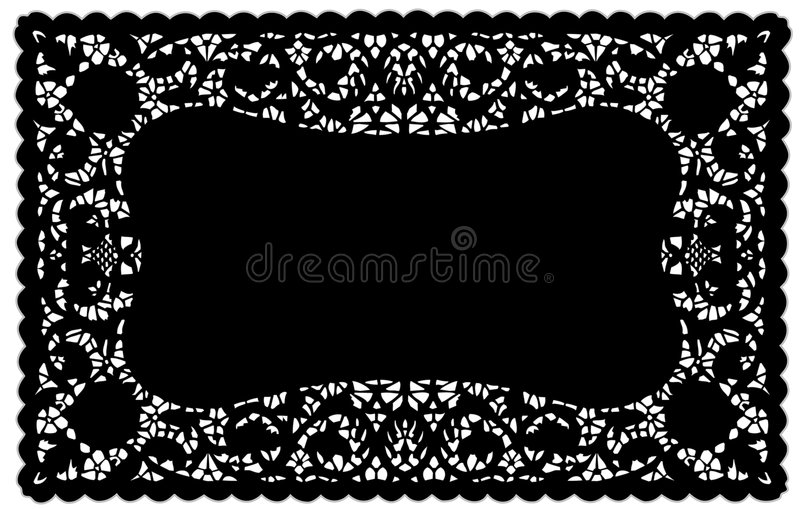 black doily eps lace mat place 库存例证