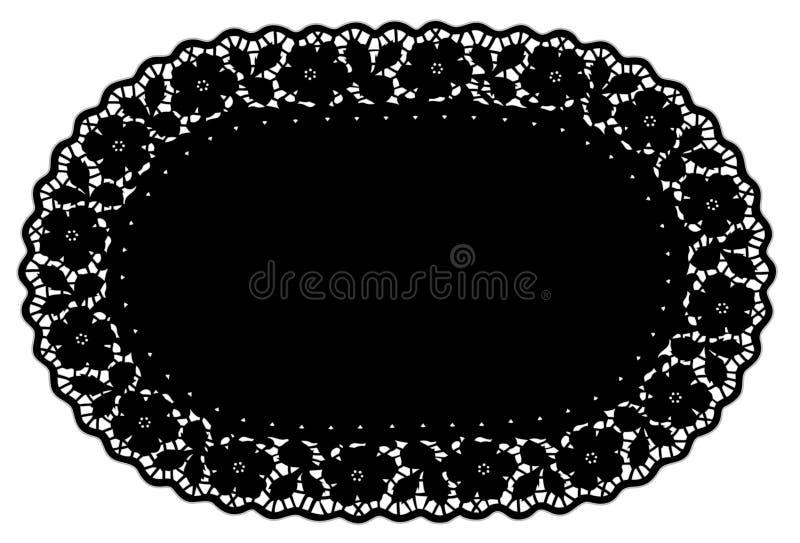 black doily lace mat pattern place rose royaltyfri illustrationer