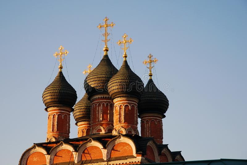Black domes of the Orthodox Church with golden crosses royalty free stock photography