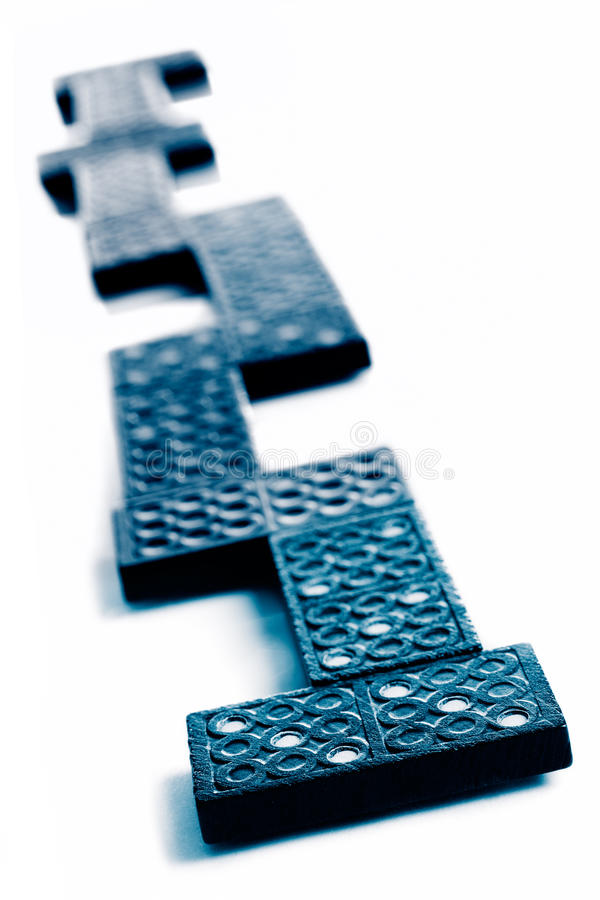 Black Domino Pieces In Sequence Royalty Free Stock Photos