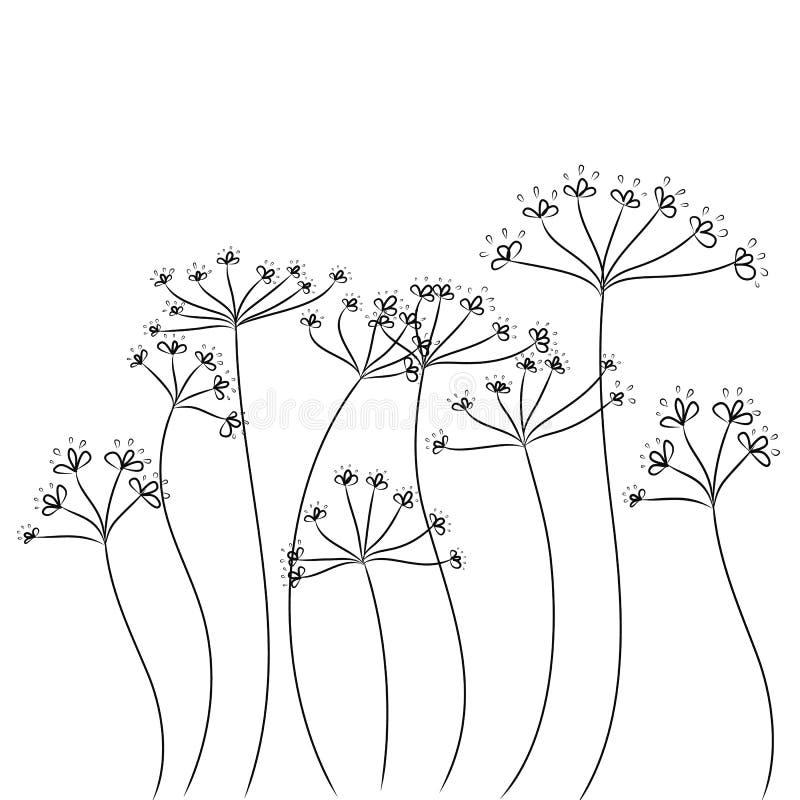 Black doodle flowers vector vector illustration