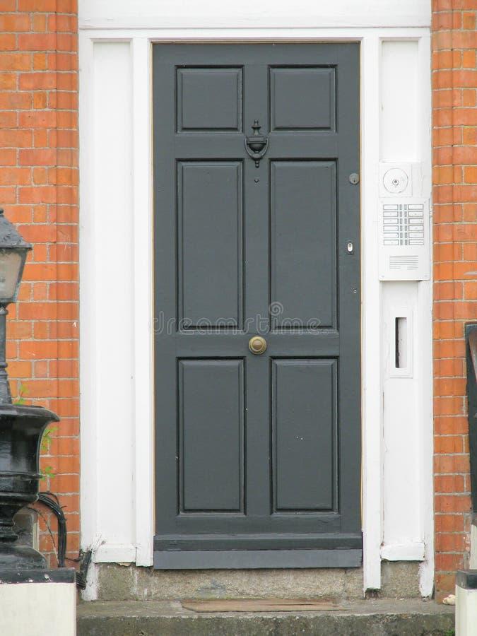 Black door Dublin. Doors in Dublin, Sandymount Ireland stock photos