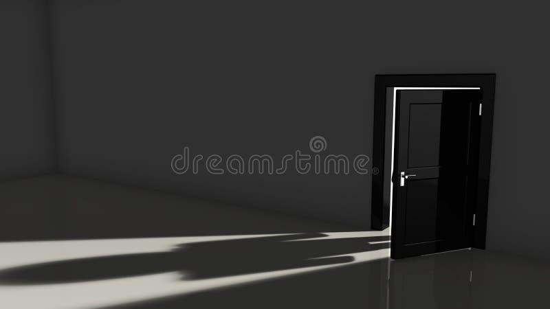 Black door opening in a dark room stock illustration