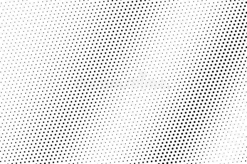 Black dots on white background. Abstract perforated surface. Micro halftone vector texture. Faded dotwork gradient. Monochrome halftone overlay for vintage royalty free illustration