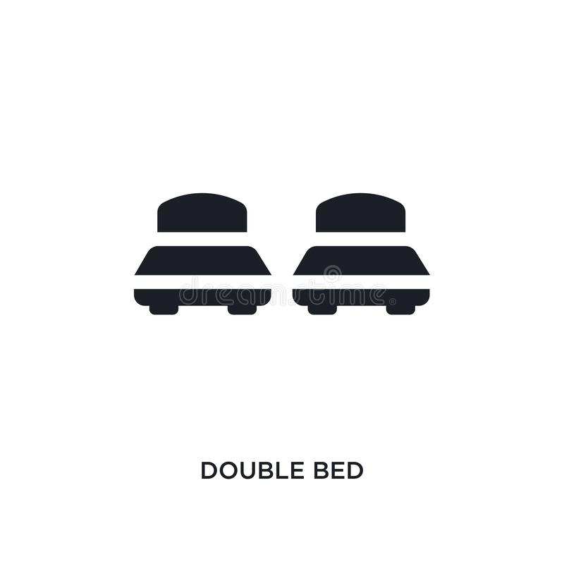 Black double bed isolated vector icon. simple element illustration from accommodation concept vector icons. double bed editable. Logo symbol design on white vector illustration
