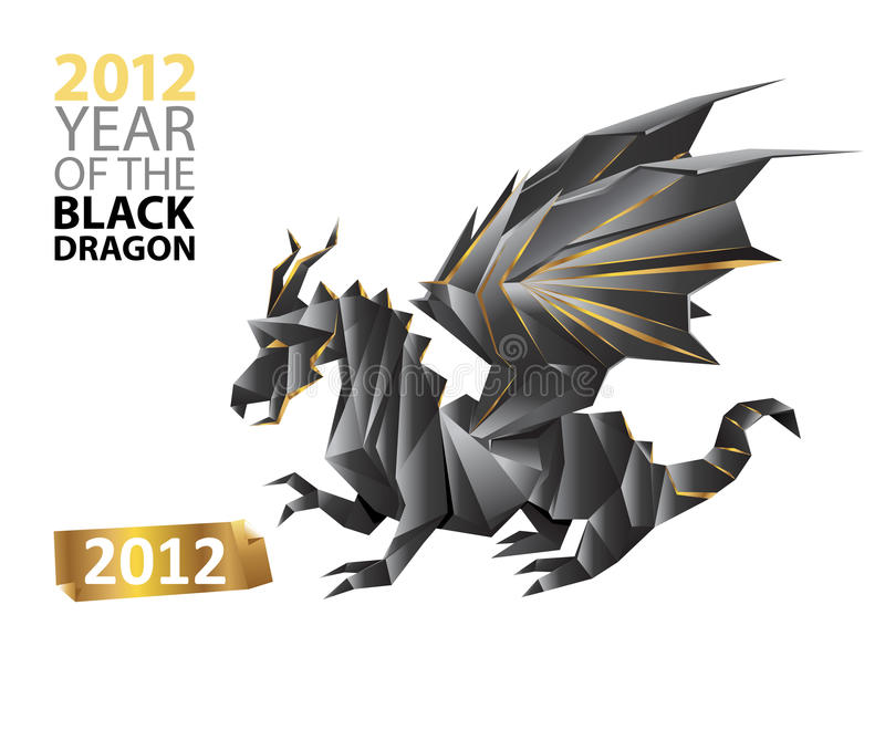Black dragon. Symbol of 2012 year - isolated origami paper art - vector illustration
