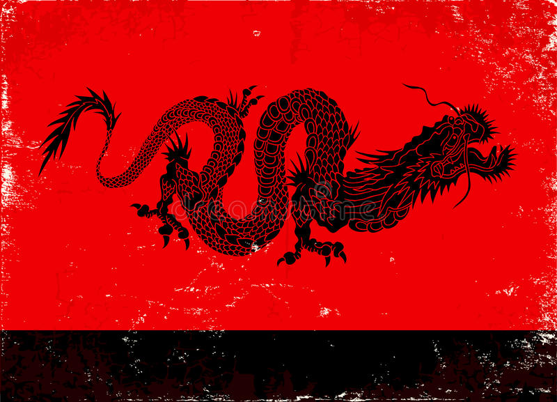 Black dragon. Illustration of black dragon in the Asian style