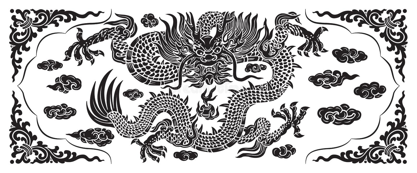 Black dragon with cloud and line chinese vector illustration