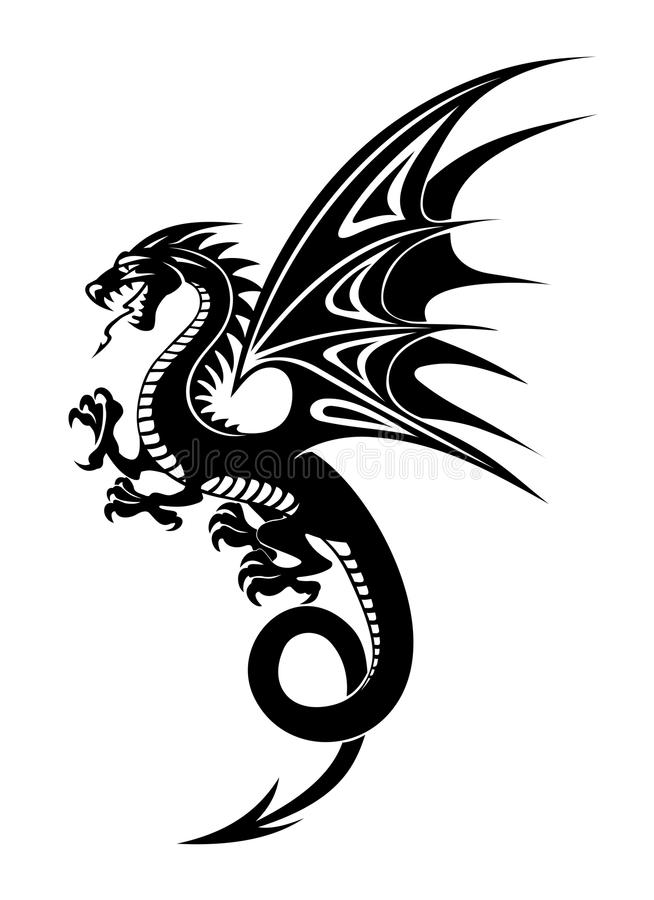 Black dragon vector illustration