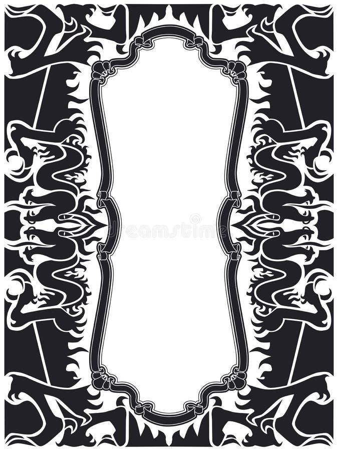 Black dragon frame set stock vector. Illustration of emblem - 2348366
