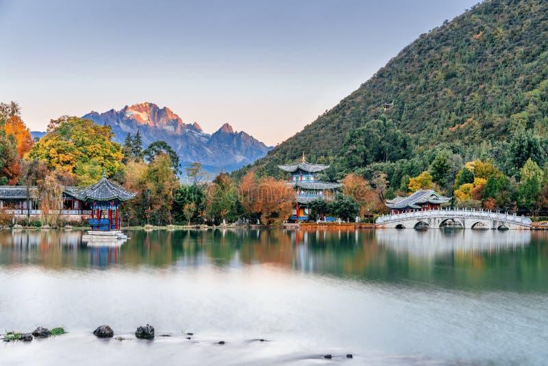 Black Dragon Pond Scenery of Yulong Snow Mountain in Lijiang, Yunnan, China. N stock photo