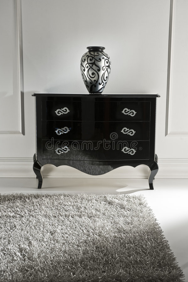 Black drawer. With a patterned vaze stock images