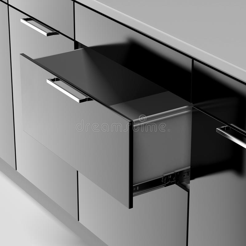 Black drawer. Isolated on a white background royalty free illustration