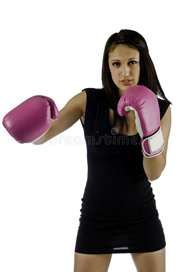 Black dress and boxing gloves royalty free stock photos