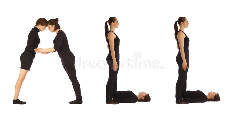 Black dressed people forming ALL word over white royalty free stock photography