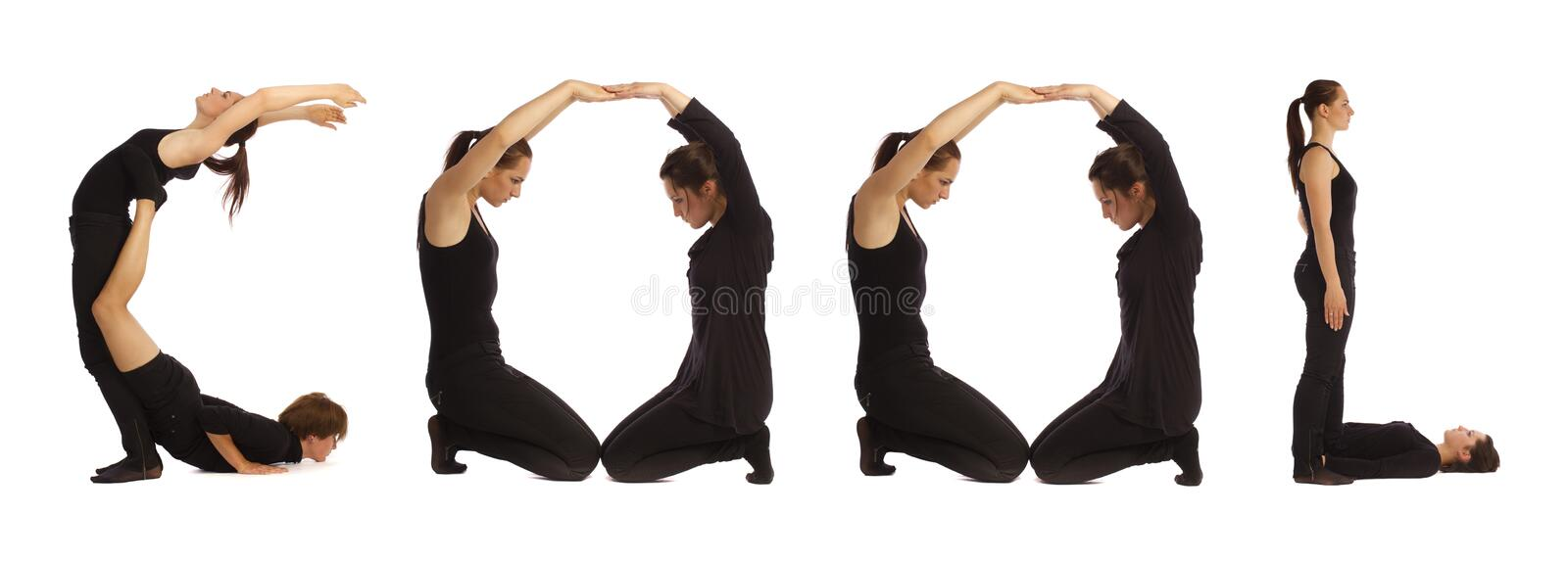 Black dressed people forming COOL word stock photos