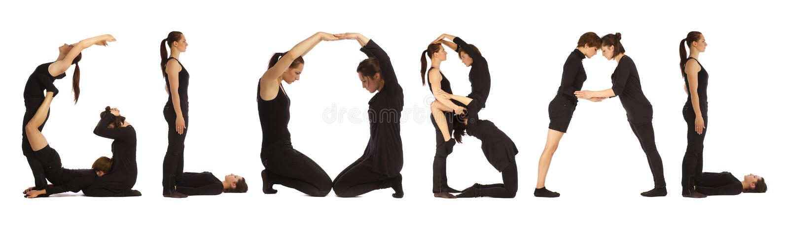 Download Black Dressed People Forming GLOBAL Word Stock Illustration - Image: 96502368