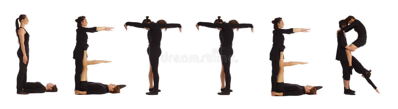 Black dressed people forming LETTER word. Over white background stock photography