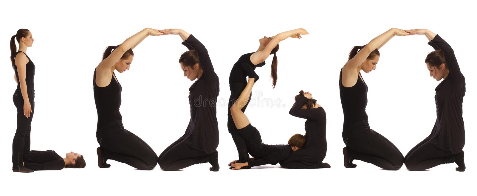 Black dressed people forming LOGO word. Over white royalty free stock photos