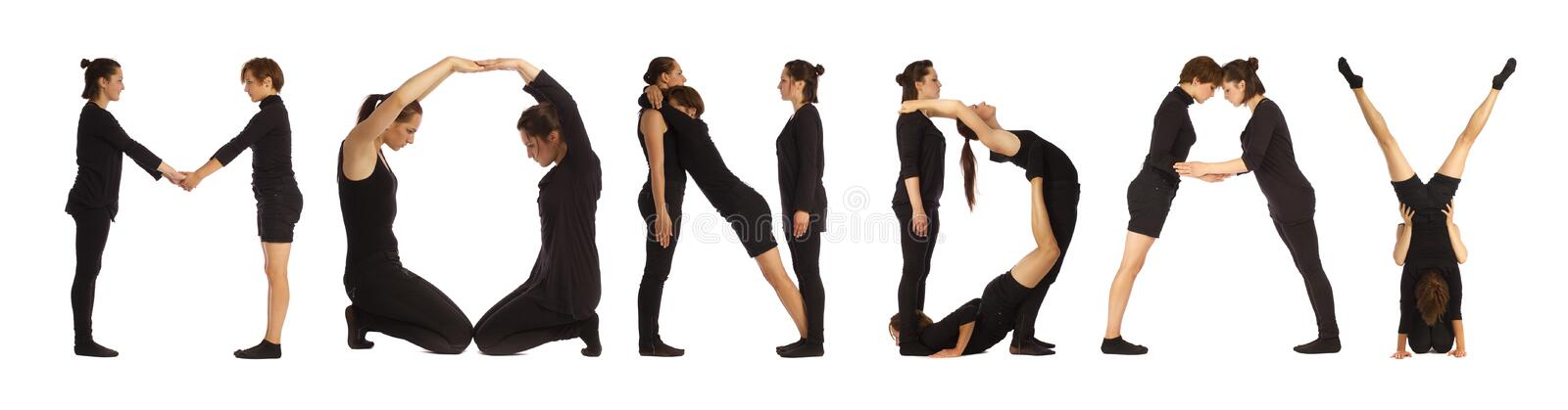 Black dressed people forming MONDAY word. Over white background royalty free stock photos