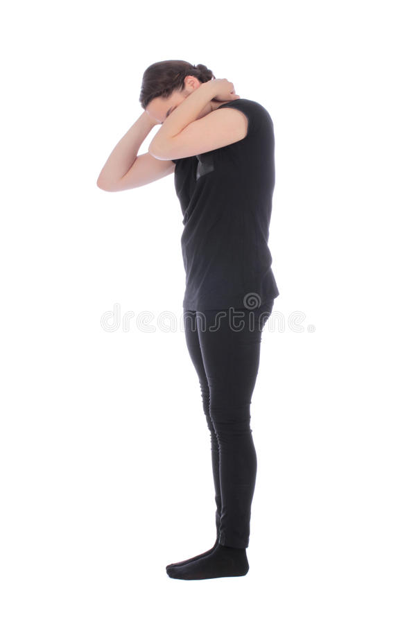 Black dressed people forming one 1 number stock photos