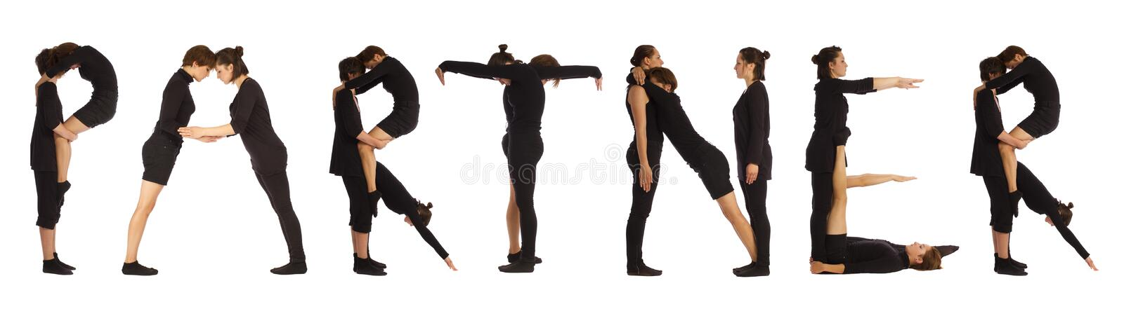Black dressed people forming PARTNER word. Over white background stock photography