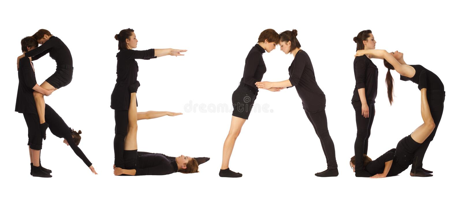 Black dressed people forming READ word. Over white background stock image