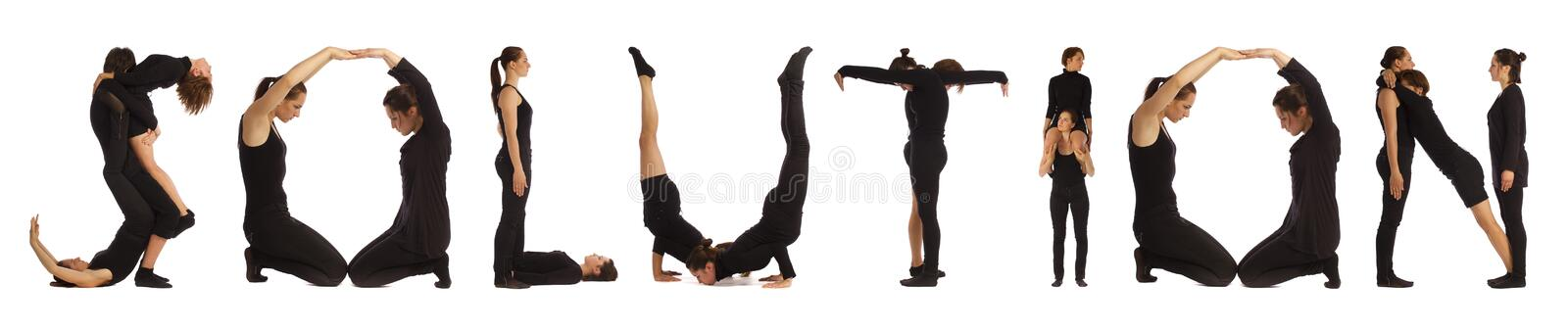 Black dressed people forming SOLUTION word. Over white background stock photos