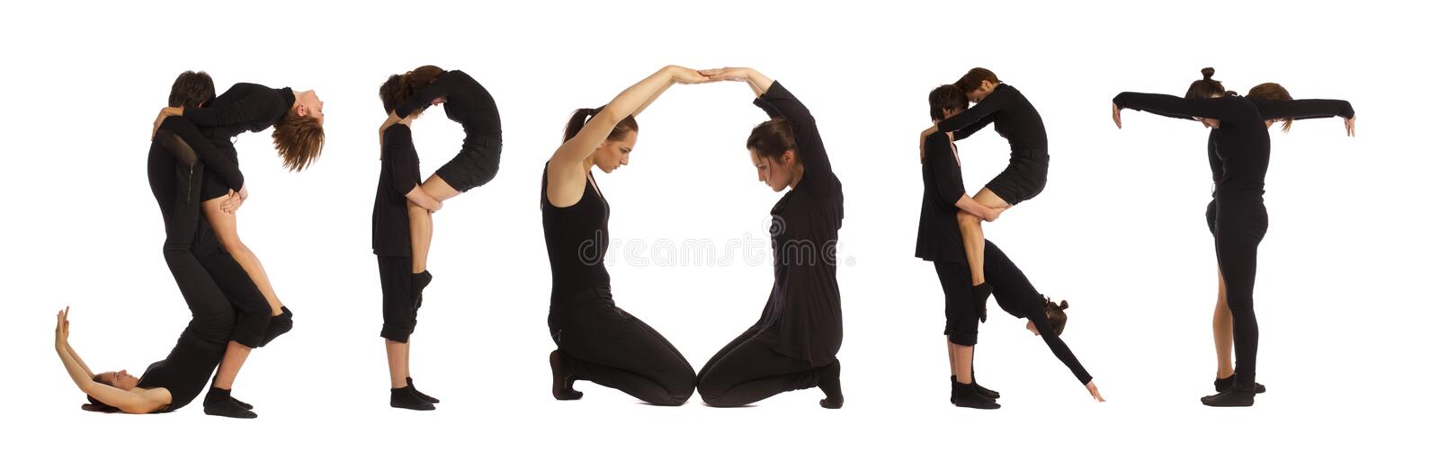 Download Black Dressed People Forming SPORT Word Stock Photo - Image of message, characters: 26080288