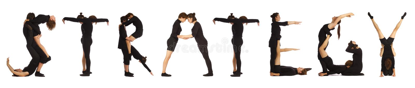 Black dressed people forming STRATEGY word. Over white background stock images