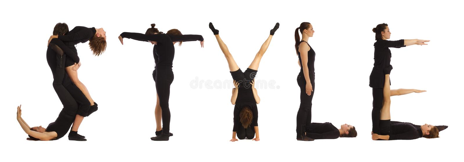 Black dressed people forming STYLE word. Over white background royalty free stock photos