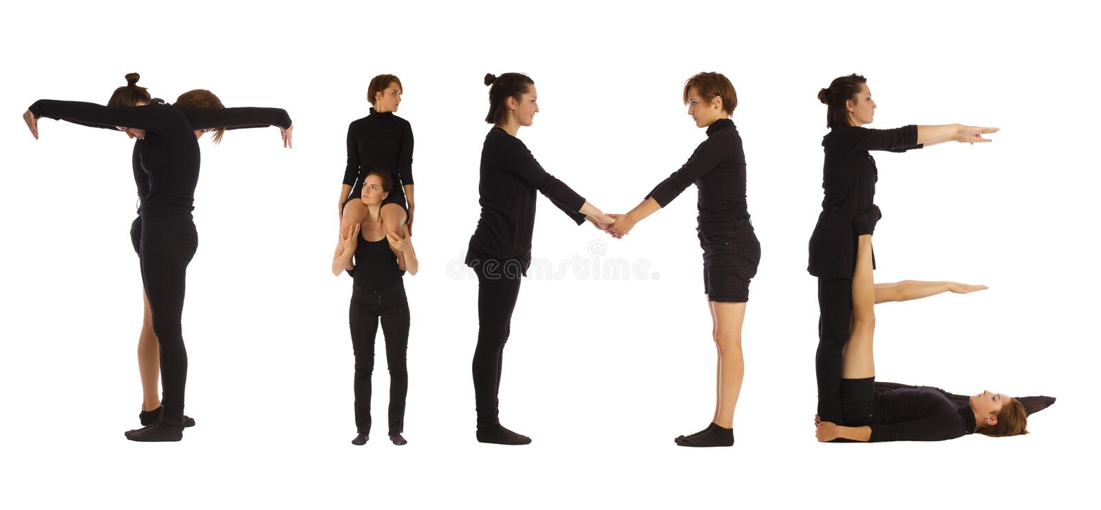Black dressed people forming TIME word. Over white background royalty free stock image