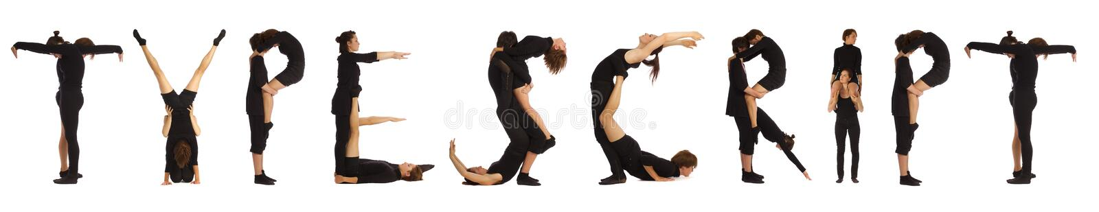 Black dressed people forming TYPESCRIPT word royalty free stock photography