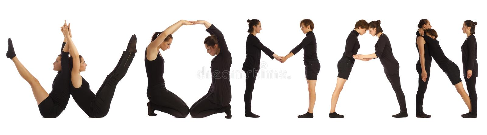 Black dressed people forming WOMAN word royalty free stock photos