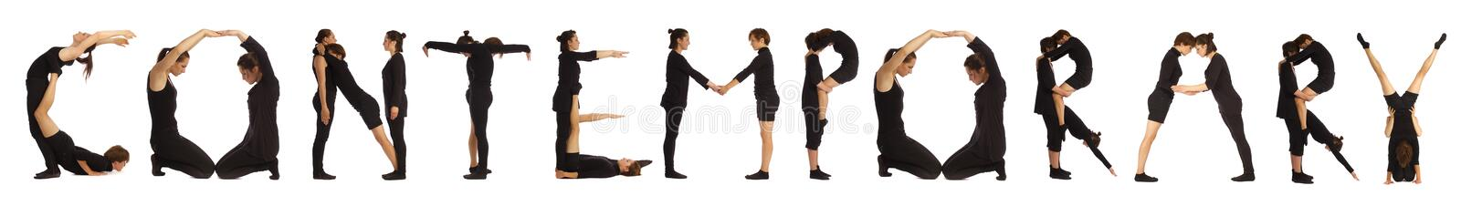 Black dressed people forming word CONTEMPORARY royalty free stock images