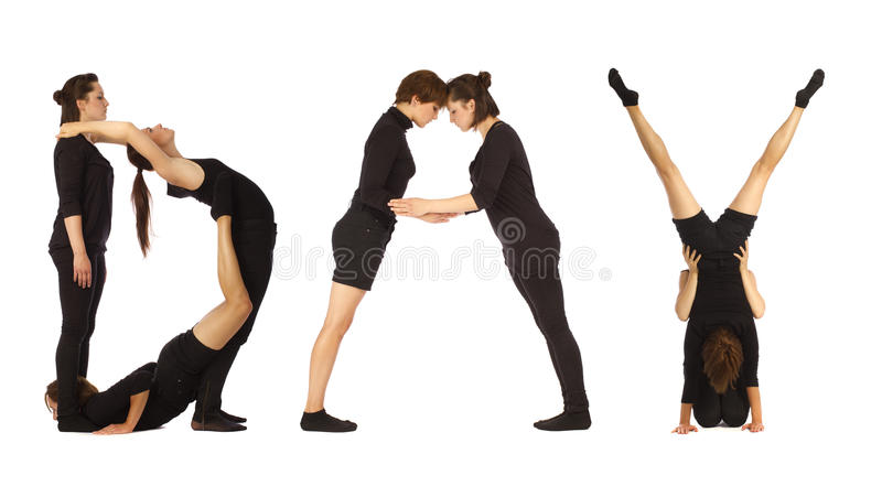 Black dressed people forming word DAY royalty free stock photography