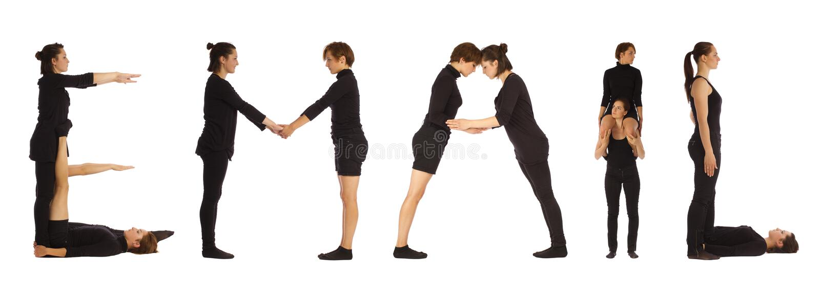 Black dressed people forming word EMAIL royalty free stock photo