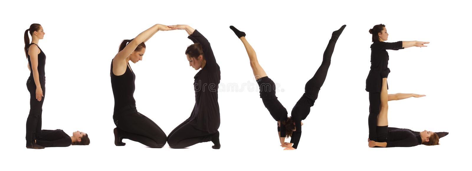 Download Black Dressed People Forming Word LOVE Stock Image - Image of human, body: 92121837