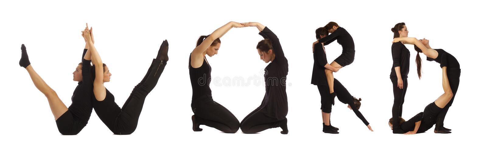 Black dressed people forming WORD word over white. Background stock photography