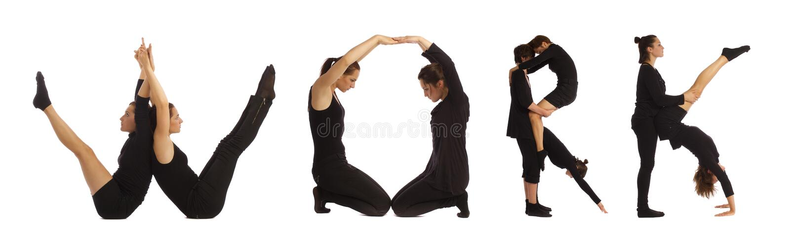 Black dressed people forming WORK word over white. Background stock images