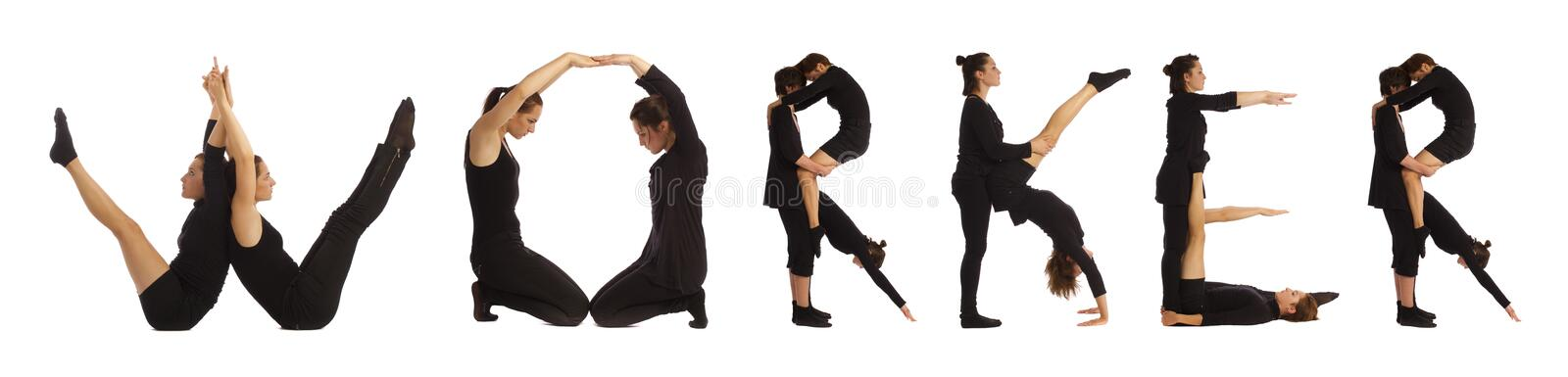 Black dressed people forming WORKER word. Over white background royalty free stock photography