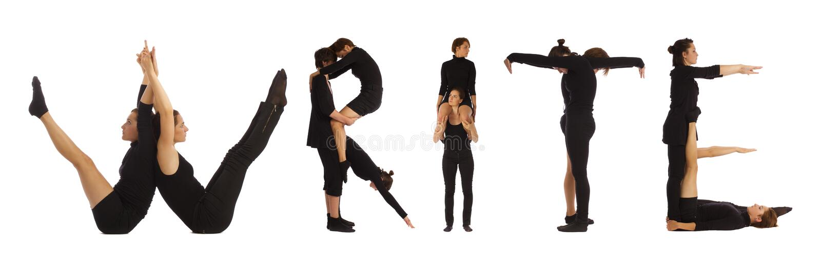 Black dressed people forming WRITE word over white. Background royalty free stock photography