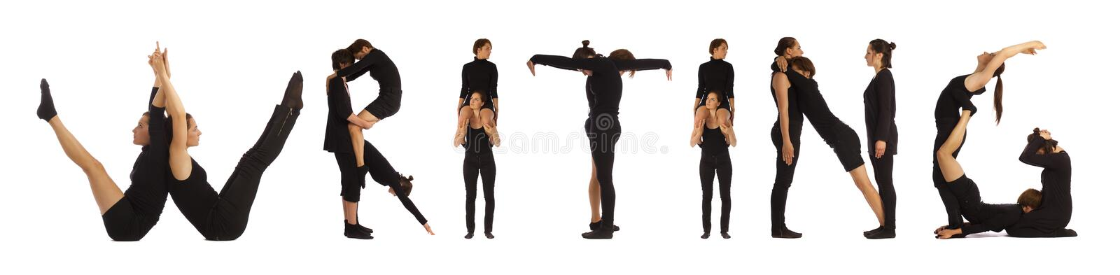 Black dressed people forming WRITING word. Over white background royalty free stock photography