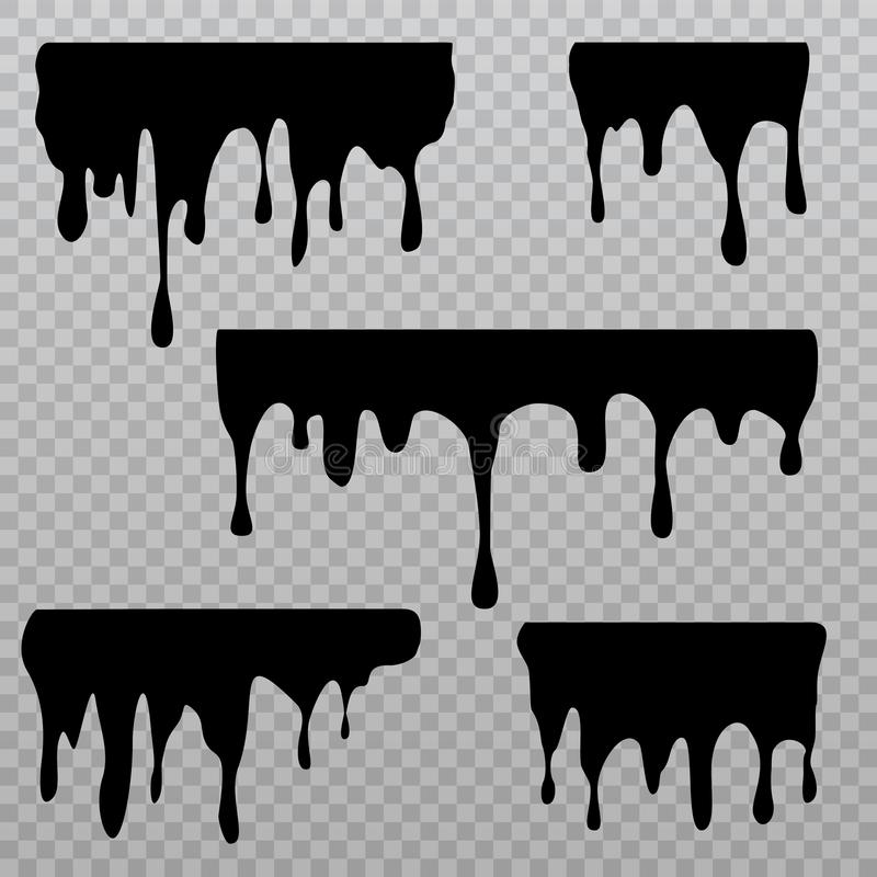 Free Black Dripping Liquid Silhouettes Isolated On Checkered Background. Oil Splash And Trickle Leak Sings Stock Photos - 151627363