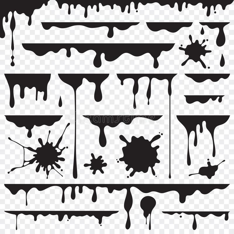 Black dripping oil stain, liquid drips or paint current vector i. Nk silhouettes isolated stock illustration