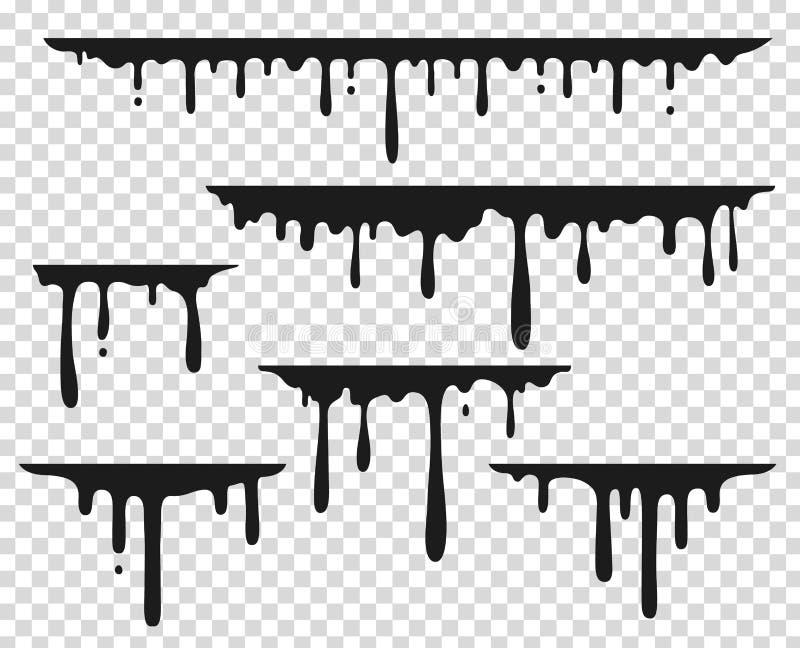 Black dripping stain. Liquid paint splash, chocolate flow border, caramel splatter leak, melt paint drop. Vector black royalty free illustration