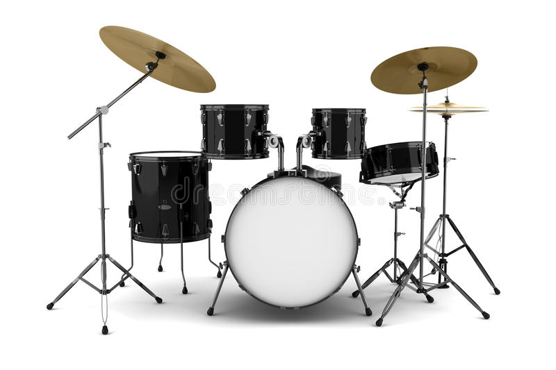 Black drum kit isolated on white royalty free stock images