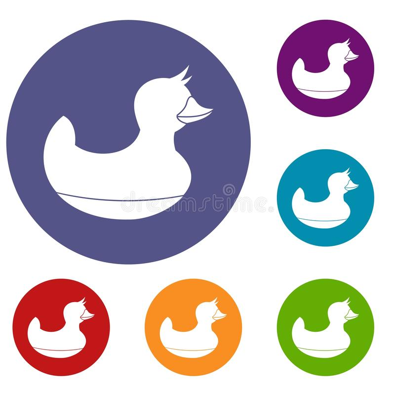 Black duck toy icons set. In flat circle red, blue and green color for web stock illustration
